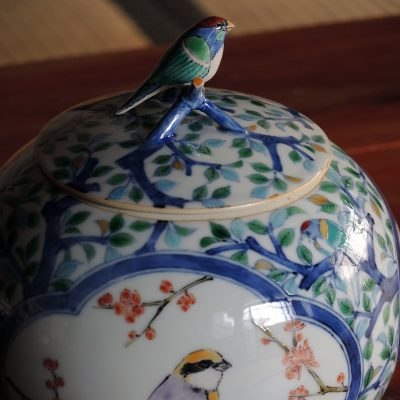 Bird Pot, overglaze enamels